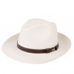 HANDWOVEN EQUADOR STRAW PANAMA FEDORA HAT WITH LEATHER BELT