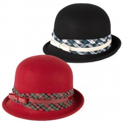 LADIES 100% WOOL CLOCHE HAT WITH FAUX LEATHER BELT OVER TARTAN BAND HANDMADE IN ITALY
