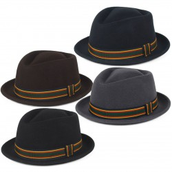 STYLISH 100% WOOL PORK PIE HAT WITH COLOURFUL BAND WATERPROOF & CRUSHABLE, HANDMADE IN ITALY