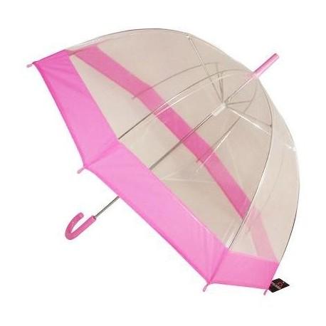 Průhledný deštník růžový