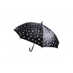 Vystřelovací deštník černý s bílými hvězdičkami