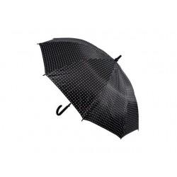 Vystřelovací deštník s bílými puntíky