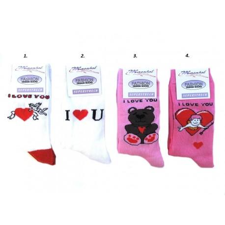 Valentýnské ponožky 4 Páry