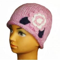 Čepice pletená růžová