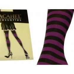 Punčochové kalhoty pruhované fialovo-černé 75 DEN