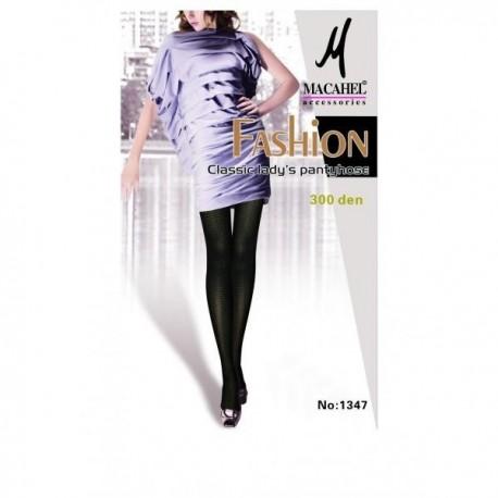 Punčochové kalhoty černé Violka s celoplošným vzorem 300 DEN