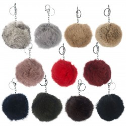 Soft Rabbit Fur Ball Pom Pom Keychain