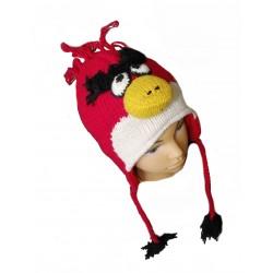 Čepice, ušanka se zvířatkem Bird červená