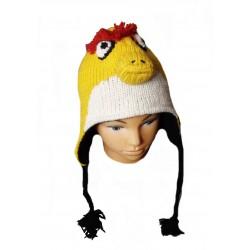 Čepice, ušanka se zvířatkem Bird žlutá