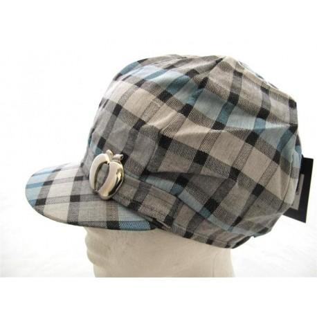 Women płaskie czapki niebiesko-szary