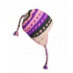 Čepice, ušanka z nepálské vlny pink