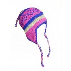 Čepice, ušanka z nepálské vlny růžová