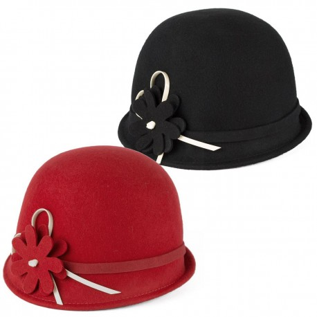 LADIES 100% WOOL CLOCHE HAT WITH FELT BELT AND FLOWER MOTIF HANDMADE IN ITALY
