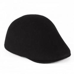 BLACK 100% WOOL SPORT FLAT CAP HANDMADE IN ITALY