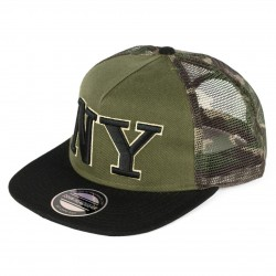UNISEX SNAPBACK WITH ARMY MESH AND NY DESIGN