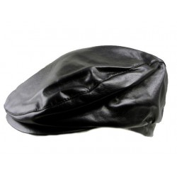 Black leatherette flat caps