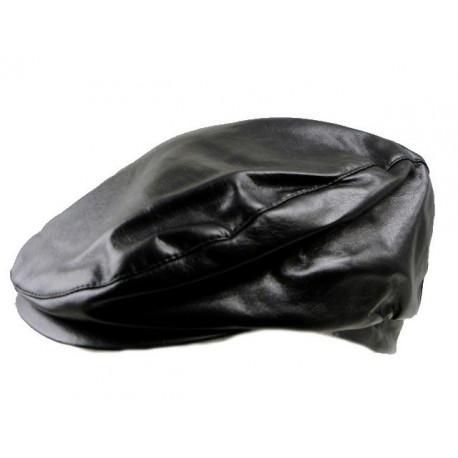 Black leatherette flat caps