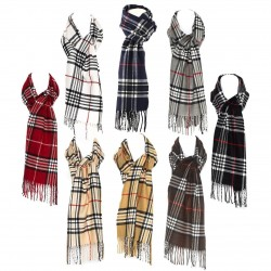 Luxury Wool Blend Unisex Checked Tartan Winter Scarf