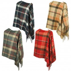 WOOL BLEND CHECKED TARTAN PONCHO WRAP