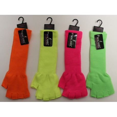 PLAIN UNISEX NEON LONG FINGERLESS GLOVES