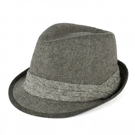 GREY HERRINGBONE TRILBY HAT